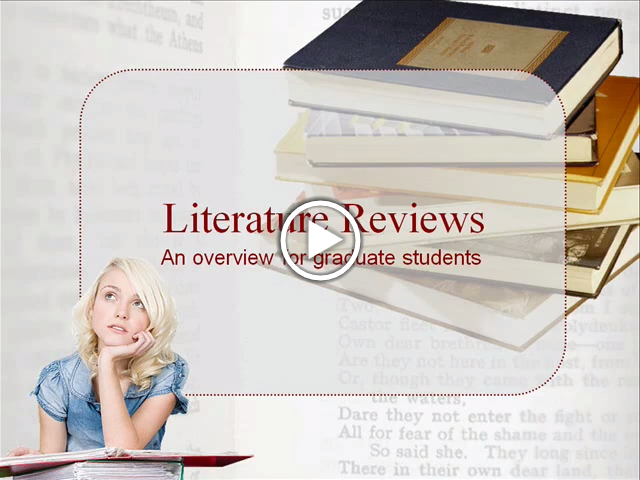 "A video titled ""Literature Reviews: An overview for graduate students."" Video here: https://www.lib.ncsu.edu/tutorials/litreview/. Transcript available here: https://siskel.lib.ncsu.edu/RIS/instruction/litreview/litreview.txt"