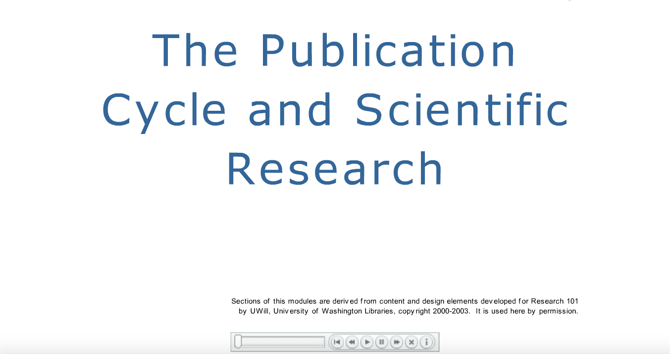"Tutorial on ""The Publication Cycle and Scientific Research"" Click on image to follow full tutorial. Link: https://ocw.mit.edu/ans7870/3/3.093/f06/tutorials/pub-cycle-with-quiz.swf"