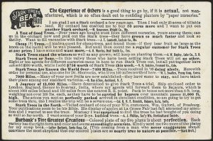 The image depicts an advertisement from a 19th century newspaper that is almost entirely text except for a silhouette of a tiny bear in the top left corner. The bear image is part of a pun that says Stark Trees Bear Fruit. It's an ad for a plant nursery. The purpose of including this image is to demonstrate that advertisements used to be information rich and text heavy with very few graphic elements.