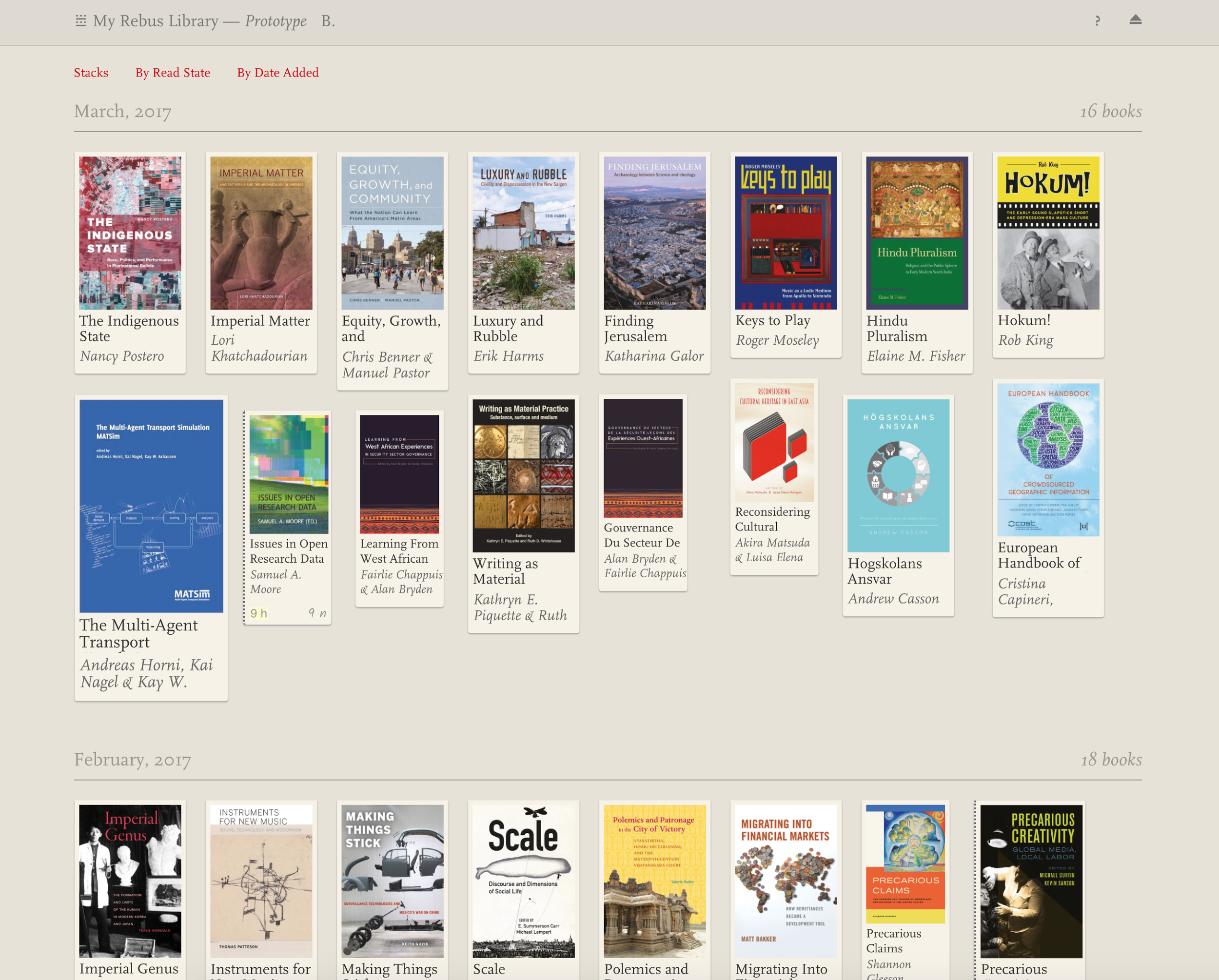 This image shows the Library Overview view showing the books in a users collection. Items are displayed as book cover thumbnails, sorted by date added. The collection can also be sorted by read state or by stacks.