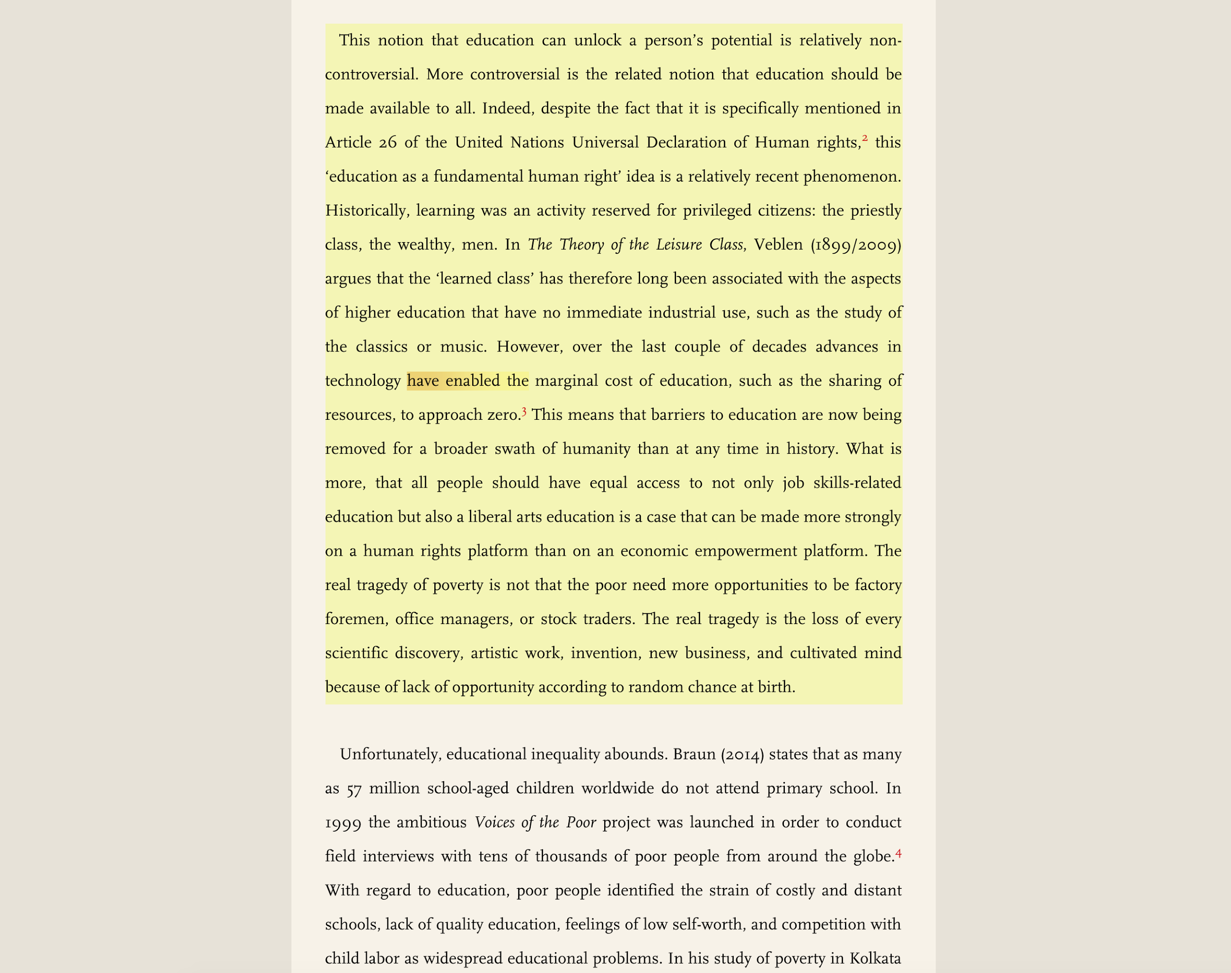 Text in the reader that has been annotated.