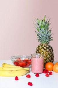 Image of various fruits and a smoothie