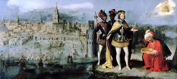 Pintura con la ciudad de Sevilla al izquierda y cuatro hombres al lado derecho