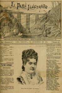 La portada de El Perú Ilustrado, periódico de Lima, 1887, con un retrato de Mercedes Cabello de Carbonera
