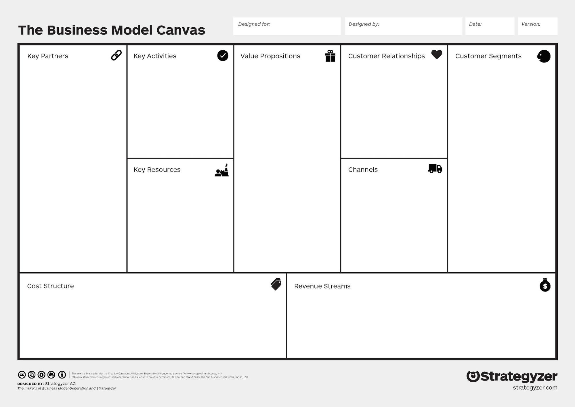 The Business Model Canvas tool helps you plan and map out different elements of a business model. This canvas contains the following elements: Key Partners, Key Activities, Key Resources, Value Propositions, Customer Relationships, Channels, Customer Segments, Cost Structure, and Revenue Streams. This image is linked to a video that fully explains how this particular canvas works. You can access the video to hear an audio description of the canvas at https://www.youtube.com/watch?time_continue=2&v=QoAOzMTLP5s