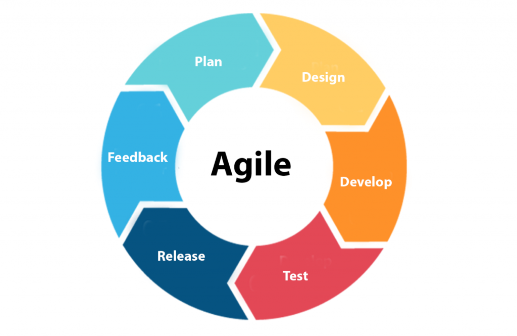 Agile cycle- image shows arrows in a circle. From left, clockwise: Feedback, Plan, Design, Develop, Test, Release and then back to Feedback.