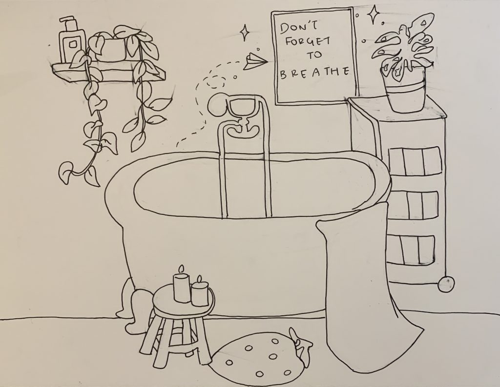A line drawing of a bath tub, plants, and candles in a calm and private environment including a sign reading don't forget to breathe