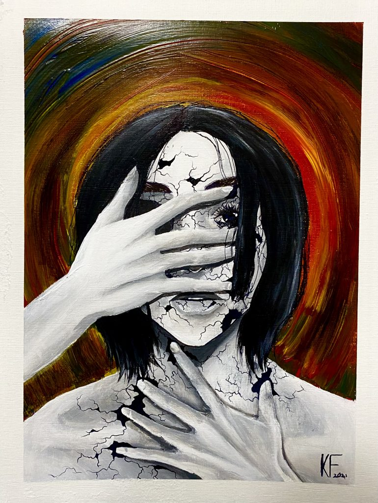 Portrait of a person with shattered porcelain skin and one hand covering their face and the other covering their chest in a protective gesture