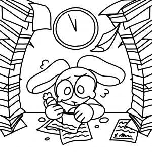 A student bunny is frantically working on schoowork as books high overhead on each side of them. A clock looms overhead in the center.