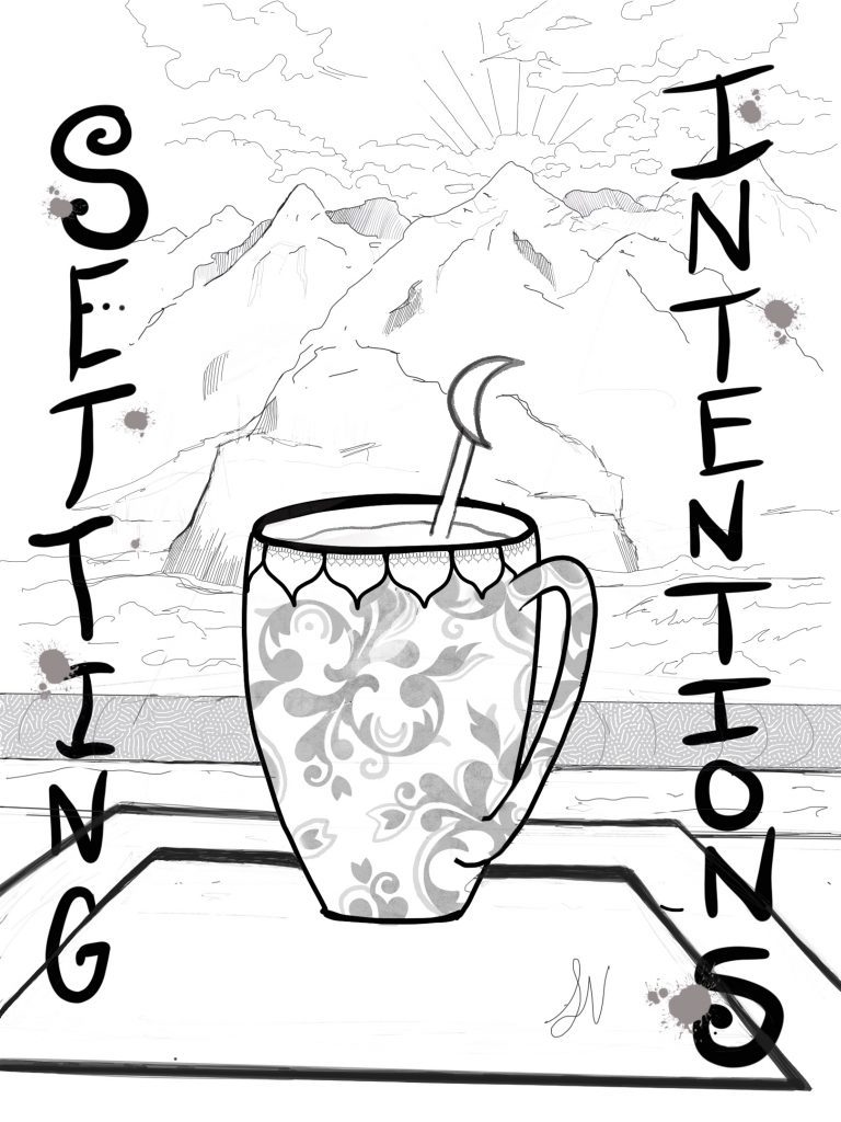 A mug of tea with crescent moon stir stick sits on a boat ledge on a body of water with a background of mountains and a sunrise. Text reads setting intentions.