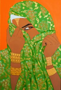 A beautiful woman is wrapped in a glittering green scarf with only one kohl lined eye peering out at the viewer. Gold cuffs adorn both of her wrists as she holds gently onto the scarf